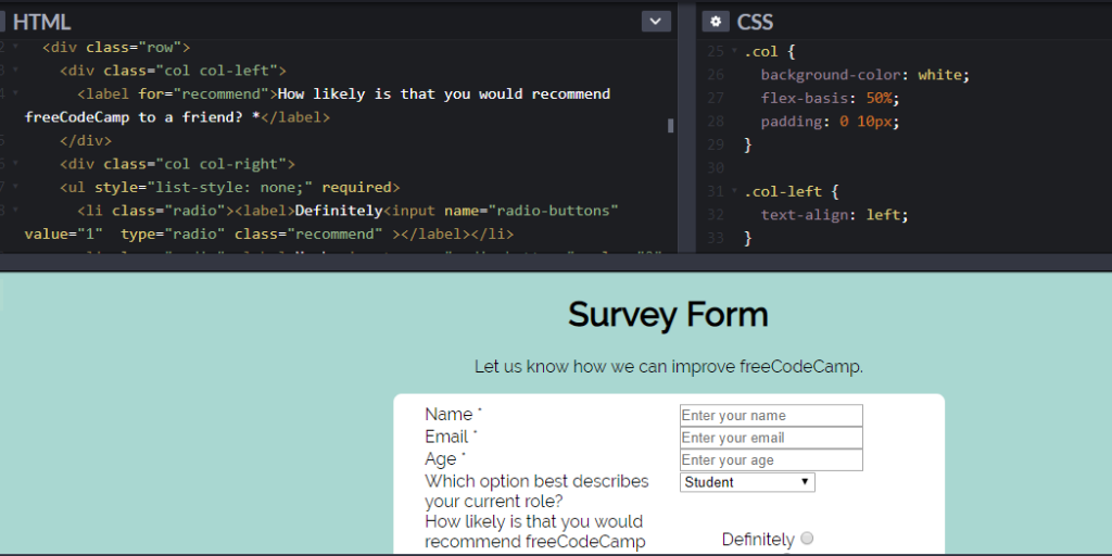 The form now has a white background, and a two column layout!